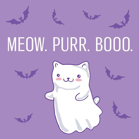 Halloween card with cat as kawaii ghost on purple. Vector illustration. Ilustração