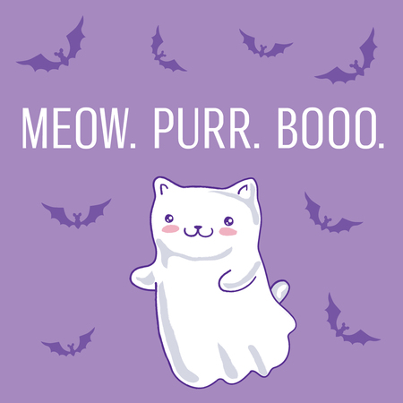 Halloween card with cat as kawaii ghost on purple. Vector illustration. Illustration