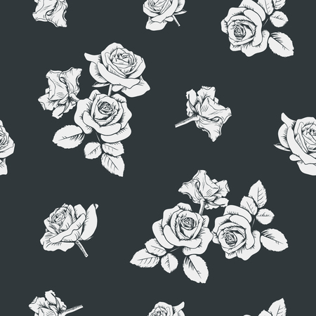 White roses on black background. Seamless pattern. Vector illustartion.