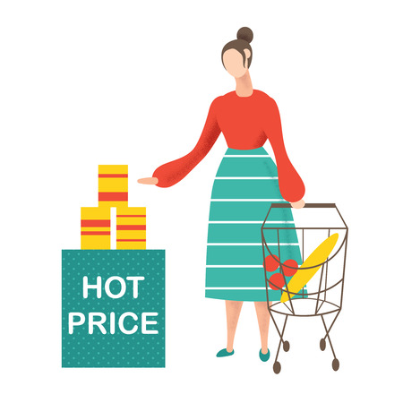 Young woman doing shopping and choosing products at supermarket. Vector illustration.