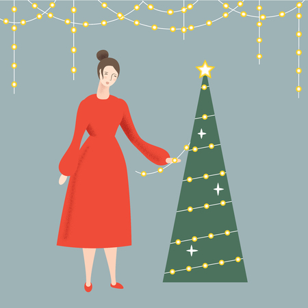 Cute illustration for Christmas and Happy New Year. Girl in the red dress is decorating a Christmas tree. Vector illustration.