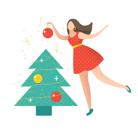 Cute illustration for Christmas and Happy New Year. Girl in the red dress is decorating a Christmas tree. Vector illustration. Isolated on white.