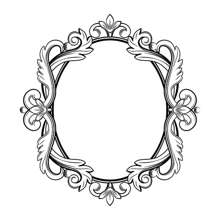 Ornamental vintage frame in black color. Vector illustration. Isolated on white background. Can use for birthday card, wedding invitations, restaurants menu, spa
