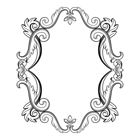 Ornamental vintage frame in black color. Vector illustration. Isolated on white background. Can use for birthday card, wedding invitations, restaurants menu, spa Ilustração