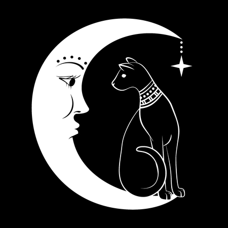 Black Cat on the Moon. Vector illustration. Can use as tattoo, boho design, halloween design. Ilustração