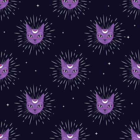 Violet cat face with moon on night sky seamless pattern background. Cute magic, occult design. Vector illustration.