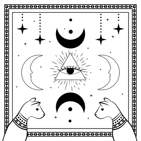 Black cats, night sky with moon and stars. Frame for sample text. Magic, occult symbols on white. Witchcraft theme for t-shirt, textiles and print design. Vector illustration.