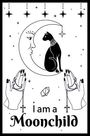 Black Cat on the Moon. Praying hands holding a rosary. I am a Moonchild text. Can use for t-shirt, textiles and print design. Vector illustration.
