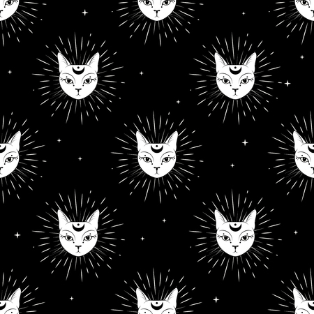 Cat face with moon on night sky seamless pattern background. Cute magic, occult design. Vector illustration.