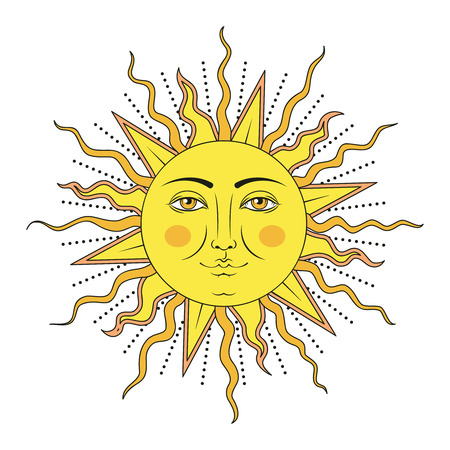 Sun with human face symbol. Colored yellow vector illustration.