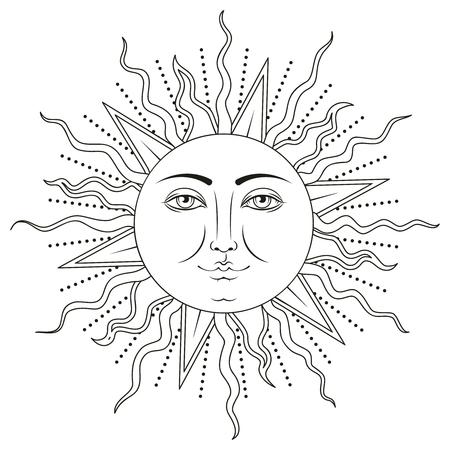 Soleil avec symbole de visage humain. Illustration vectorielle noir et blanc. Vecteurs