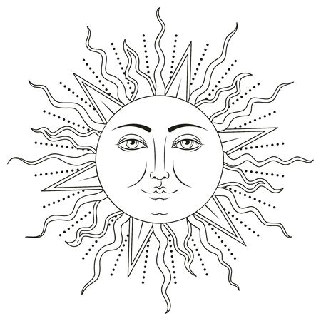 Sun with human face symbol. Black and white vector illustration.
