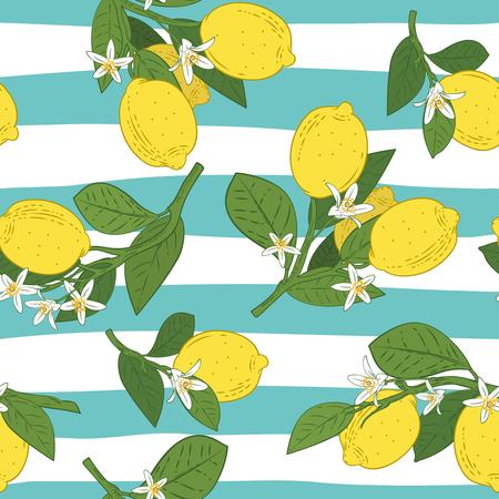 Modello senza cuciture di rami con limoni, foglie verdi e fiori sul blu. Sfondo di agrumi. Illustrazione vettoriale.