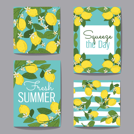 Citrus fruits greeting cardsset collection. Vector illustration. Lemons, green leaves and flowers on turquoise blue backgrounds.