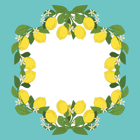 Card template with text. Tropical citrus lemon fruits frame on vintage turquoise blue background. Vector illustration.