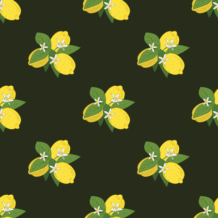 Seamless pattern of branches with lemons, green leaves and flowers on black. Citrus fruits background. Vector illustration. 矢量图像