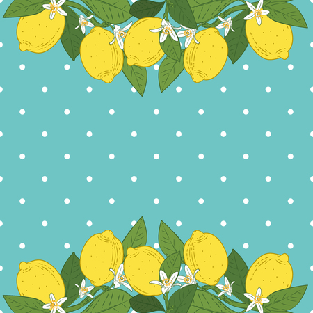 Tropical citrus lemon fruits bright background. Poster with lemons, green leaves and flowers on turquoise blue polka dot. Summer colorful design. Vector illustration.