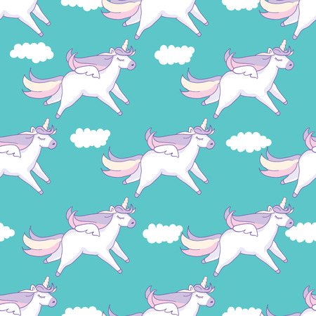 Seamless pattern background. Cute pig as pegasus and unicorn with clouds. Vector illustration Ilustração