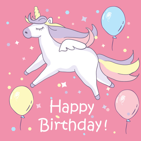 Beautyful unicorn. On pink background with baloons and happy birthday text. Greeting card. Vector illustration.