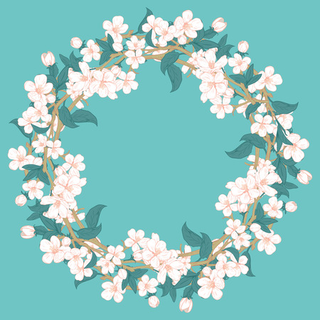 Cherry blossom round pattern on blue turquoise background. Sakura circle frame for your text or photo. Vector illustration.