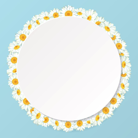 Chamomile pattern on vintage blue background. Daisy chain. Round frame with shadow for your text or photo. Vector illustration. Ilustração