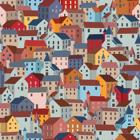 Seamless pattern with colorful houses. City or town texture. Vector illustration.
