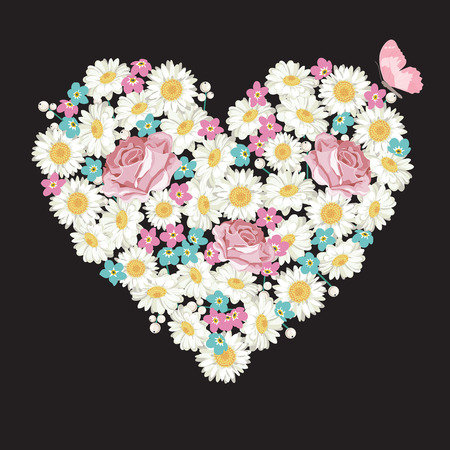 Heart shape. Roses, chamomile and forget-me-not flowers, butterfly on black background. Vector illustration.