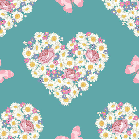 Seamless pattern. Heart shape. Roses, Chamomile and forget-me-not flowers, butterfly on blue background. Vector illustration. For wedding, birthday, valentine, mothers day, greeting cards