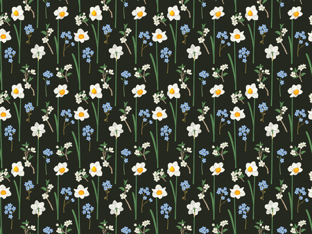 Floral seamless pattern. Daffodils, forget me not flowers and sakura. illustration.
