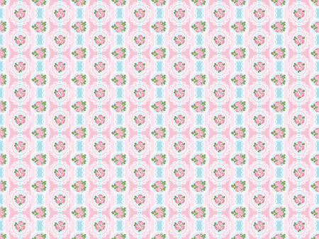 Shabby chic rose seamless pattern on pink background. illustartion.