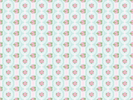 Shabby chic rose seamless pattern on polka dot with ribbons and laces background. illustartion.