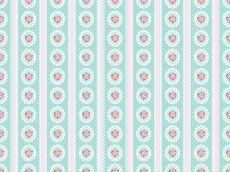 Shabby chic rose seamless pattern on polka dot background. illustartion.