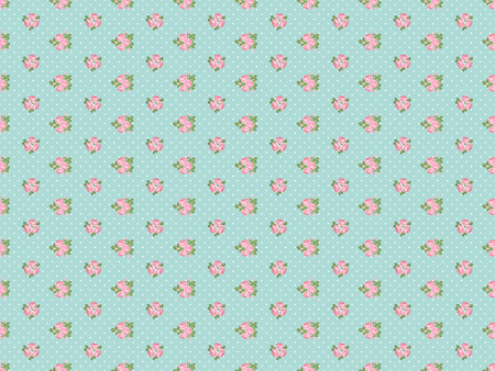 Shabby chic rose seamless pattern on light green polka dot background. illustartion.