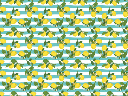 Seamless pattern of branches with lemons, green leaves and flowers on blue lines. Summer bright background. Banco de Imagens