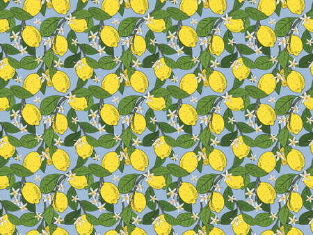 Seamless pattern of branches with lemons, green leaves and flowers on blue. Citrus fruits background. illustration. Banco de Imagens
