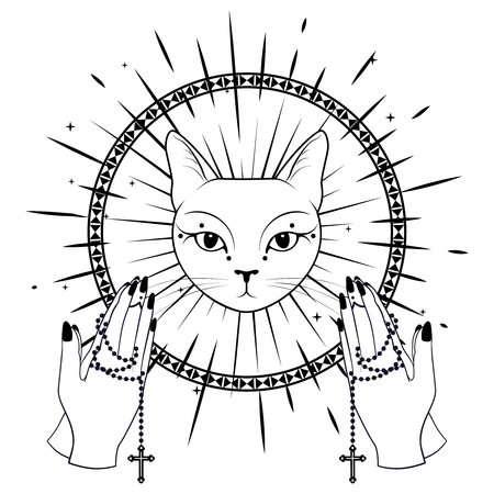 Cat Face Praying hands holding a rosary. Can use for t-shirt, textiles and print design. Vector illustration.