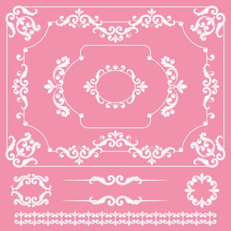 Mega set collections of vintage design elements. Royalty frames, border, dividers in white color on pink. Vector illustration. Can use for valentine and birthday card, wedding invitations.