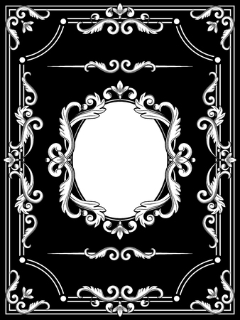 Set collections of vintage design elements. Royalty frames, dividers in white color on black. Vector illustration. Can use for valentine, birthday card, wedding invitations.