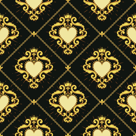 Sacred heart and golden chain on dark brown background. Seamless pattern. Vector illustration. Ilustração