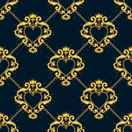 Sacred heart and golden chain on black blue background. Seamless pattern. Vector illustration. Ilustração