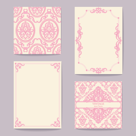 Set collections, abstract baroque royal backgrounds in pink and white colors. Vector illustration. Can use for wedding invitations, greetings card, vintage rich background with your text...