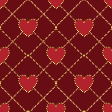 Heart shape and golden chain on dark red background. Seamless pattern. Vector illustration.