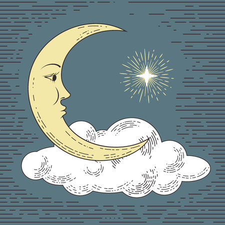 Colored hand drawn moon with cloud and star. Stylized as engraving. Vector illustration. Illustration