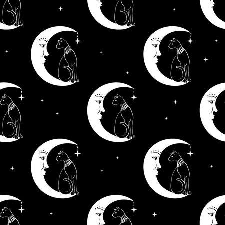 Cat sitting on moon. Night sky seamless pattern background. Cute magic, occult design. Vector illustration. Ilustração