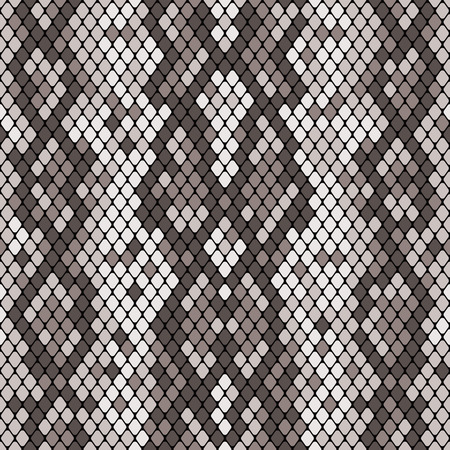 Snakeskin seamless pattern. Realistic texture of snake or another reptile skin. Grey color. Vector illustartion.