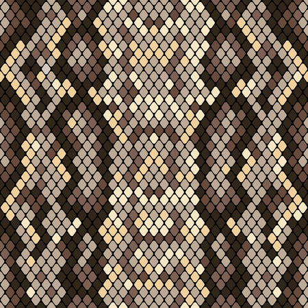 Snakeskin seamless pattern. Realistic texture of snake or another reptile skin. Beige and brown colors. Vector illustartion.
