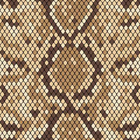 Modèle sans couture de peau de serpent. Texture réaliste de peau de serpent ou d'une autre peau de reptile. Couleurs beige et marron. Illustration vectorielle.