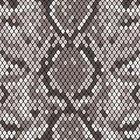 Modèle sans couture de peau de serpent. Texture réaliste de peau de serpent ou d'une autre peau de reptile. Couleur grise. Illustration vectorielle.