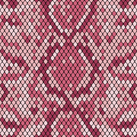 Snakeskin seamless pattern. Realistic texture of snake or another reptile skin. Pink purple colors. Vector illustartion.
