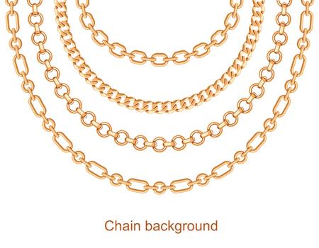 Fondo con collar de cadenas doradas metálicas. En blanco. Ilustración vectorial Ilustración de vector